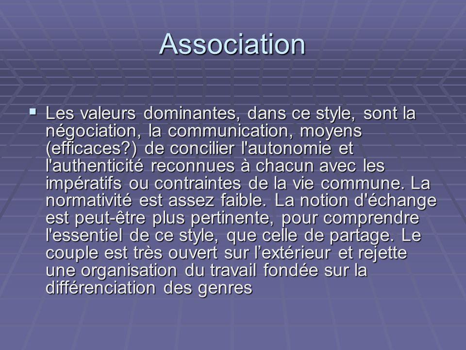 Association Les valeurs dominantes, dans ce style, sont la négociation, la communication, moyens (efficaces?) de concilier l'autonomie et l'authentici