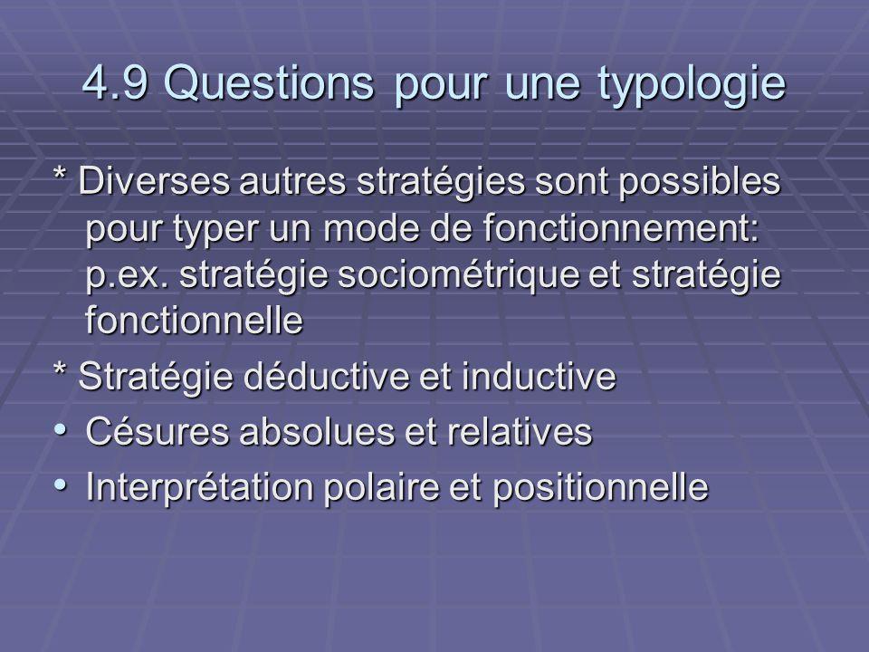 4.9 Questions pour une typologie * Diverses autres stratégies sont possibles pour typer un mode de fonctionnement: p.ex. stratégie sociométrique et st