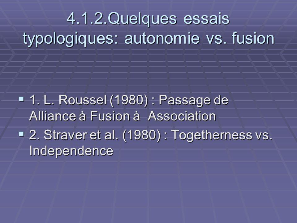 4.1.2.Quelques essais typologiques: autonomie vs. fusion 1. L. Roussel (1980) : Passage de Alliance à Fusion à Association 1. L. Roussel (1980) : Pass
