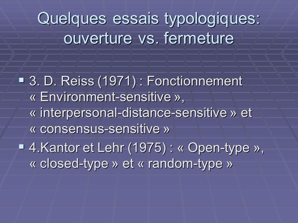 Quelques essais typologiques: ouverture vs. fermeture 3. D. Reiss (1971) : Fonctionnement « Environment-sensitive », « interpersonal-distance-sensitiv
