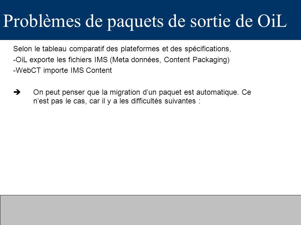 Problèmes de paquets de sortie de OiL Selon le tableau comparatif des plateformes et des spécifications, -OiL exporte les fichiers IMS (Meta données, Content Packaging) -WebCT importe IMS Content On peut penser que la migration dun paquet est automatique.