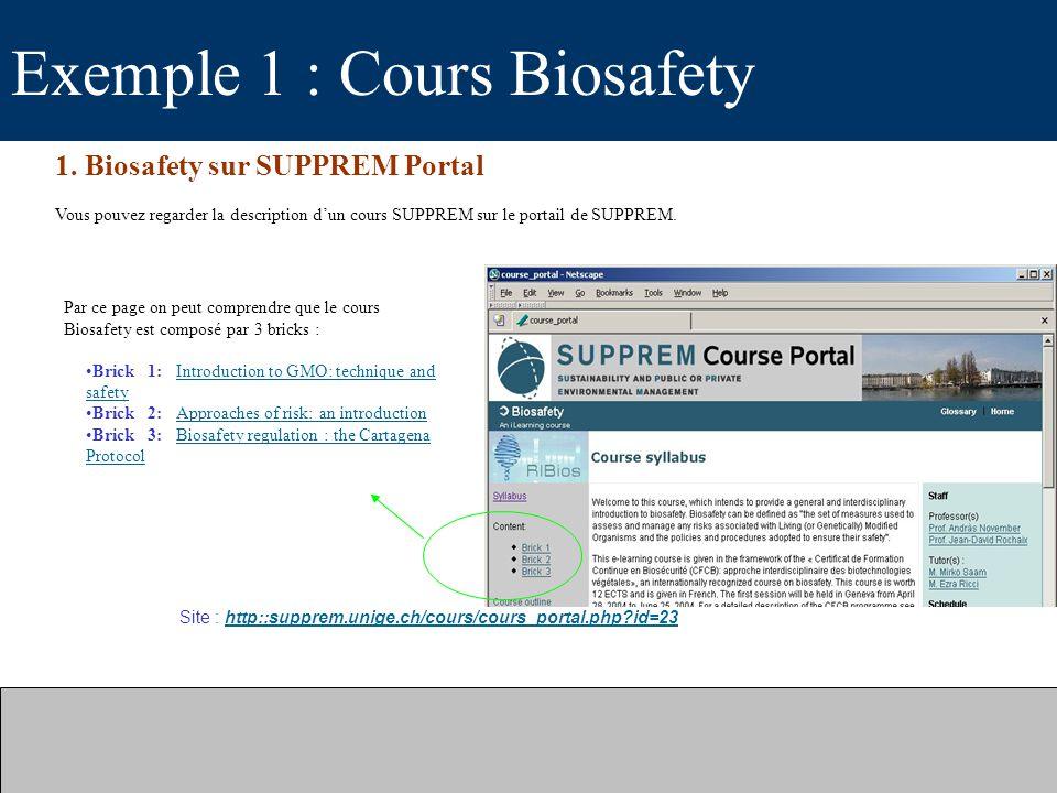 Exemple 1 : Cours Biosafety 1. Biosafety sur SUPPREM Portal Vous pouvez regarder la description dun cours SUPPREM sur le portail de SUPPREM. Site : ht