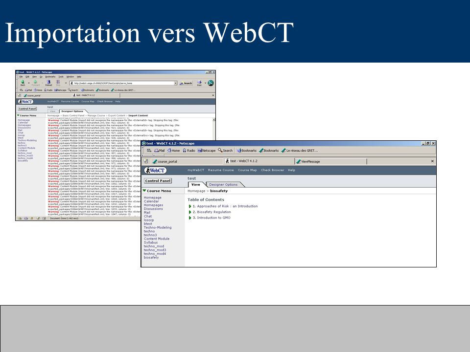 Importation vers WebCT