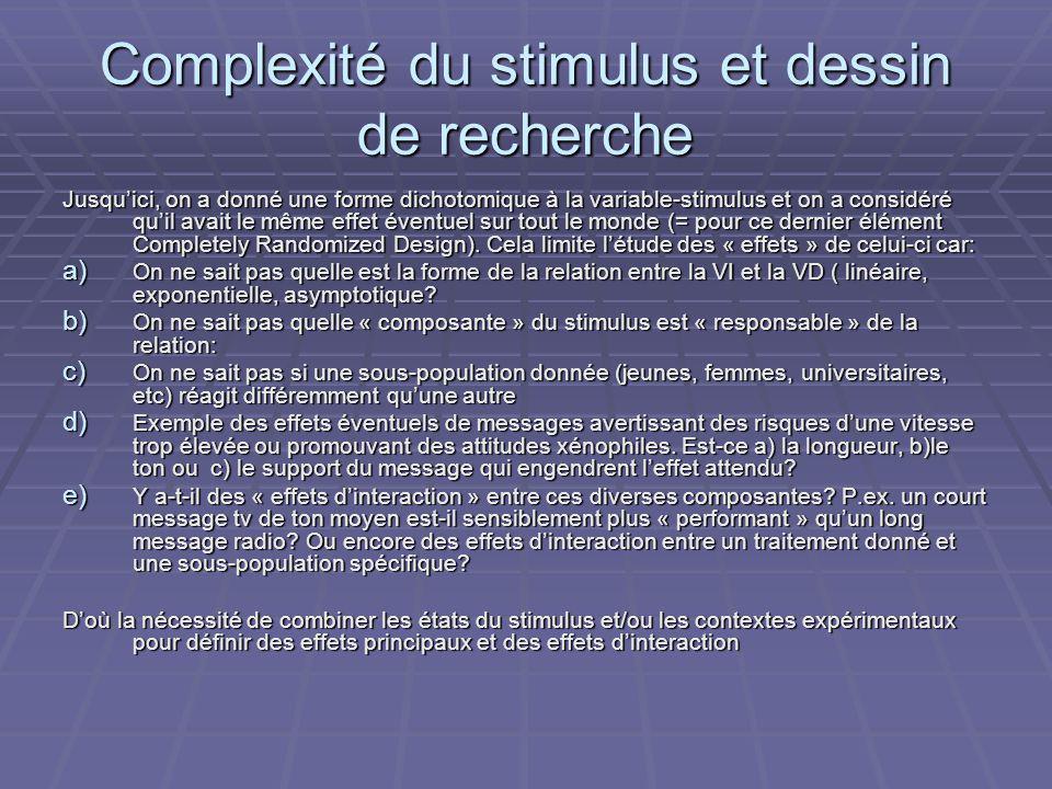 Complexité du stimulus et dessin de recherche Jusquici, on a donné une forme dichotomique à la variable-stimulus et on a considéré quil avait le même