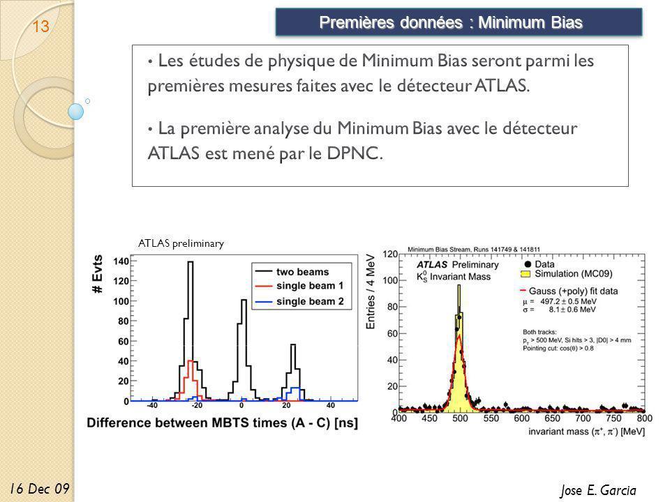 Premières données : Minimum Bias 13 Jose E. Garcia 16 Dec 09 ATLAS preliminary