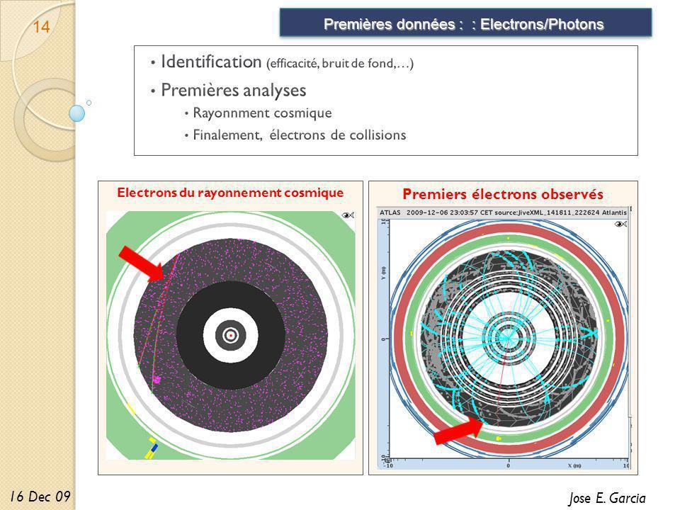 Premiers électrons observés Electrons du rayonnement cosmique Premières données : : Electrons/Photons 14 Jose E.