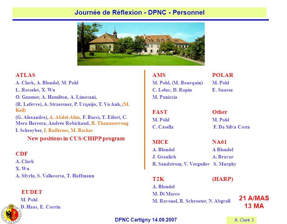 A.Clark 3 Journée de Réflexion - DPNC - Personnel DPNC Cartigny 14.09.2007 ATLAS A.