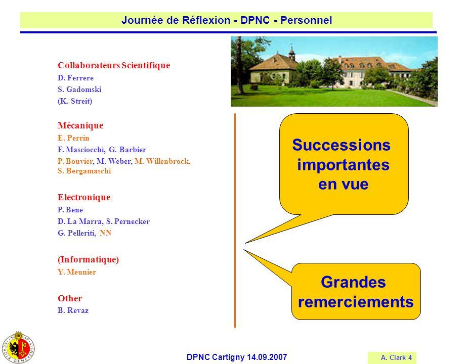 A. Clark 4 Journée de Réflexion - DPNC - Personnel DPNC Cartigny 14.09.2007 Collaborateurs Scientifique D. Ferrere S. Gadomski (K. Streit) Mécanique E