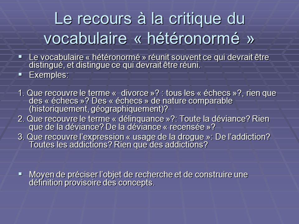 Le recours à la critique du vocabulaire « hétéronormé » Le vocabulaire « hétéronormé » réunit souvent ce qui devrait être distingué, et distingue ce qui devrait être réuni.