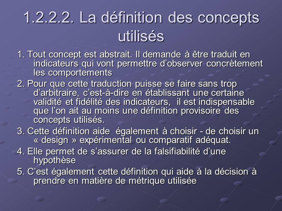 1.2.2.3 La métrique utilisée 1.On distingue les genres de variable suivants: - Nominales, - Dichotomiques, - Ordinales, - Métriques, - dIntervalles 2.Ces genres de variables autorisent des genres et niveaux différents de traitement statistique 3.Ils correspondent aussi des genres dhypothèses différents.
