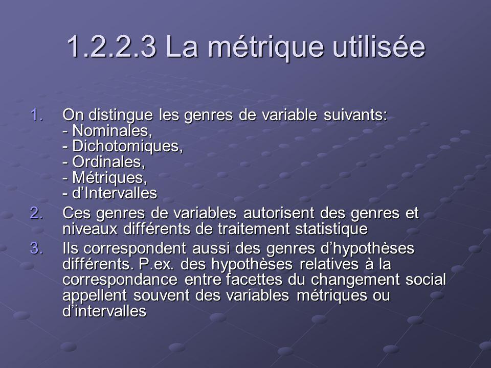 1.2.2.4 Les critères de vérification de lhypothèse 1.Portée et limites de lemploi des test de signification statistiques 2.Le niveau de corrélation 3.La part de variance expliquée dans un modèle