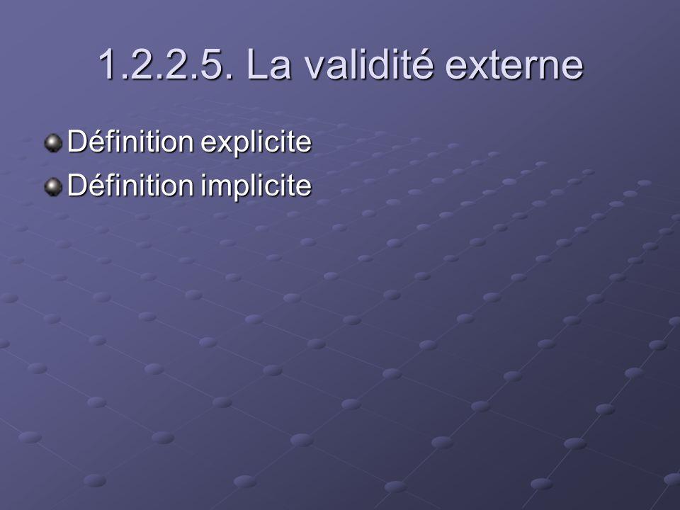 1.2.2.5. La validité externe Définition explicite Définition implicite