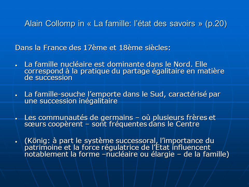 Alain Collomp in « La famille: létat des savoirs » (p.20) Alain Collomp in « La famille: létat des savoirs » (p.20) Dans la France des 17ème et 18ème