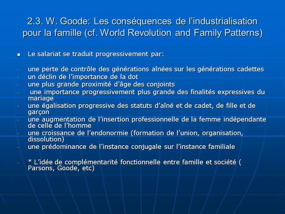 2.3. W. Goode: Les conséquences de lindustrialisation pour la famille (cf. World Revolution and Family Patterns) Le salariat se traduit progressivemen