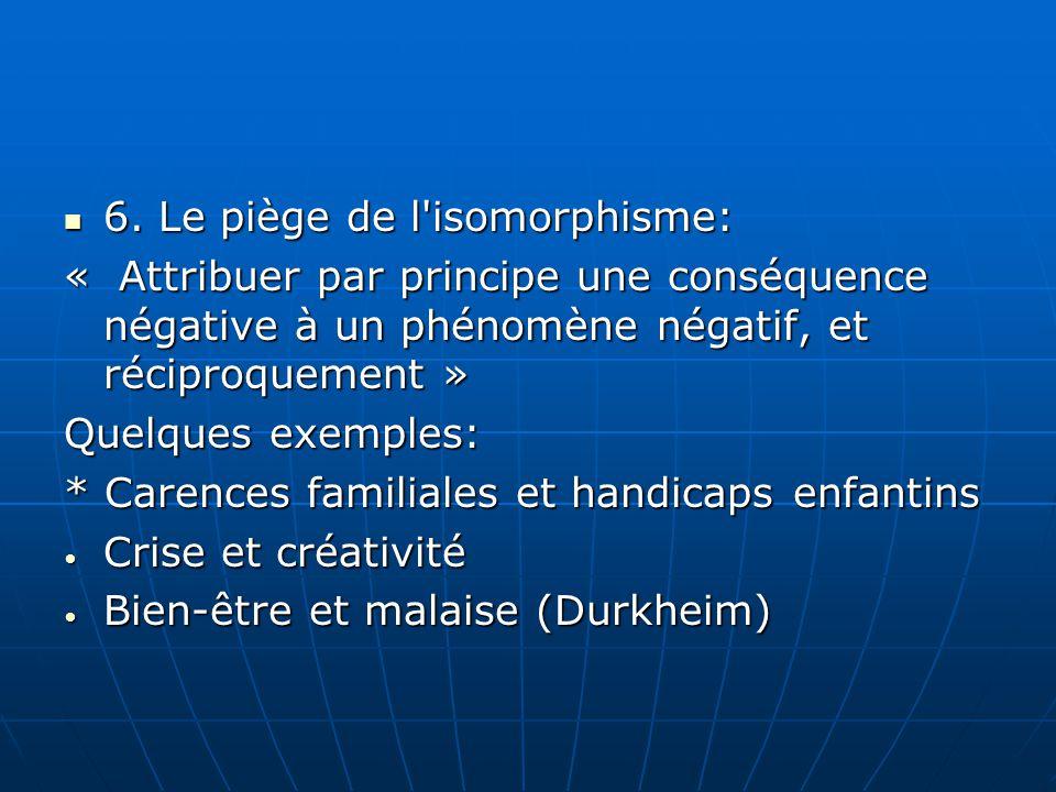 6. Le piège de l'isomorphisme: 6. Le piège de l'isomorphisme: « Attribuer par principe une conséquence négative à un phénomène négatif, et réciproquem