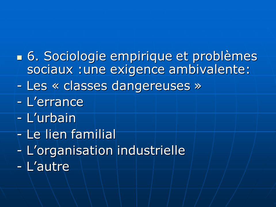 6. Sociologie empirique et problèmes sociaux :une exigence ambivalente: 6. Sociologie empirique et problèmes sociaux :une exigence ambivalente: - Les