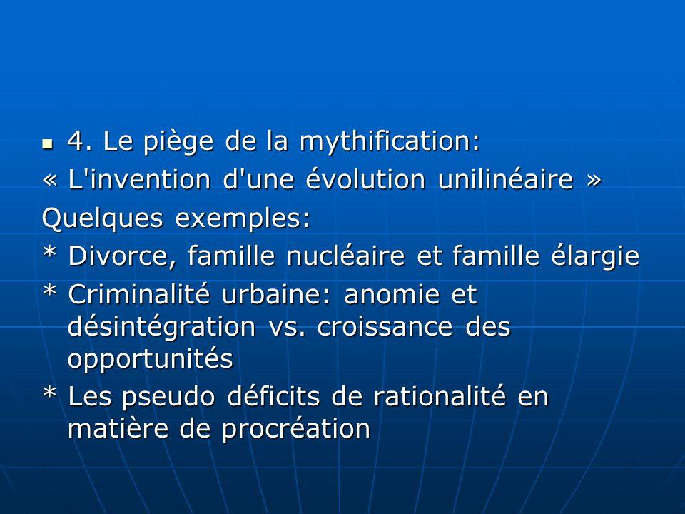 4. Le piège de la mythification: 4. Le piège de la mythification: « L'invention d'une évolution unilinéaire » Quelques exemples: * Divorce, famille nu