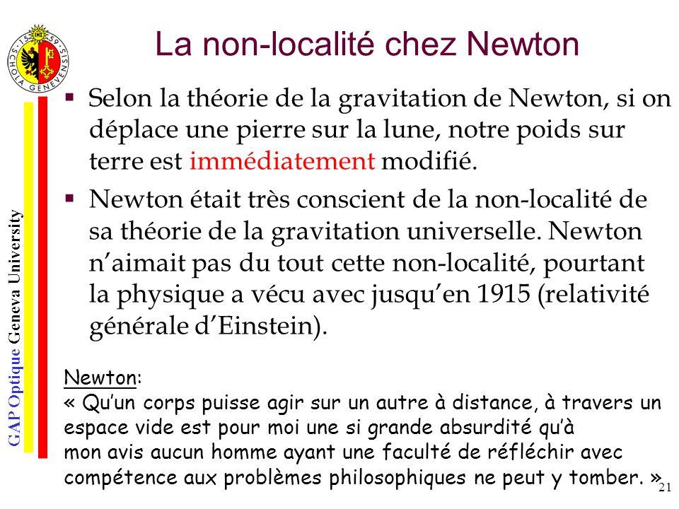 GAP Optique Geneva University 21 La non-localité chez Newton Selon la théorie de la gravitation de Newton, si on déplace une pierre sur la lune, notre