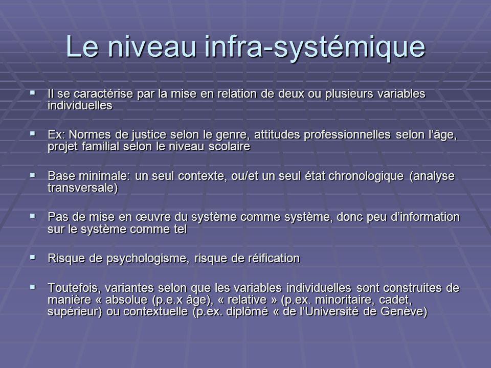Le niveau infra-systémique Il se caractérise par la mise en relation de deux ou plusieurs variables individuelles Il se caractérise par la mise en rel
