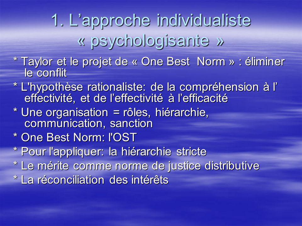 1. Lapproche individualiste « psychologisante » * Taylor et le projet de « One Best Norm » : éliminer le conflit * L'hypothèse rationaliste: de la com