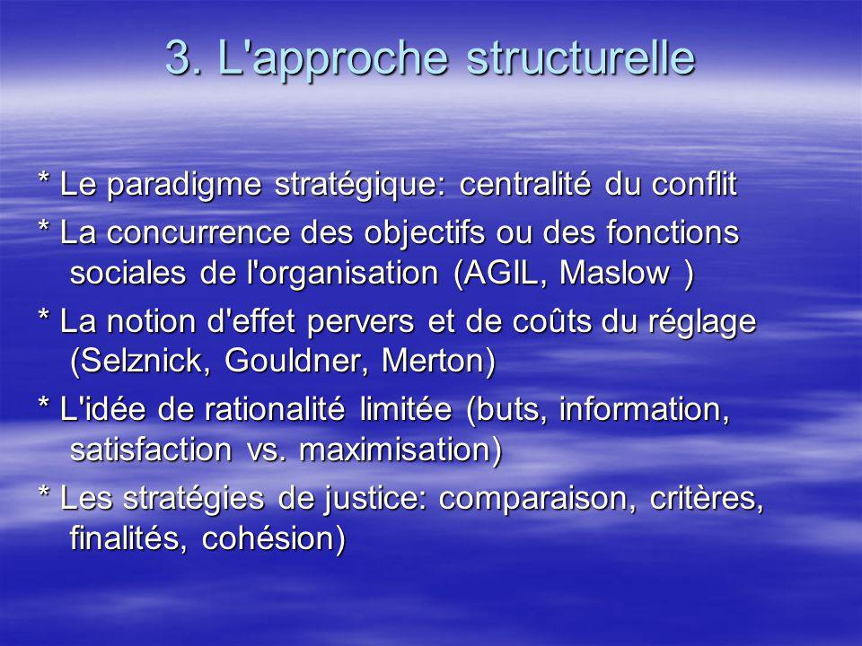 3. L'approche structurelle * Le paradigme stratégique: centralité du conflit * La concurrence des objectifs ou des fonctions sociales de l'organisatio