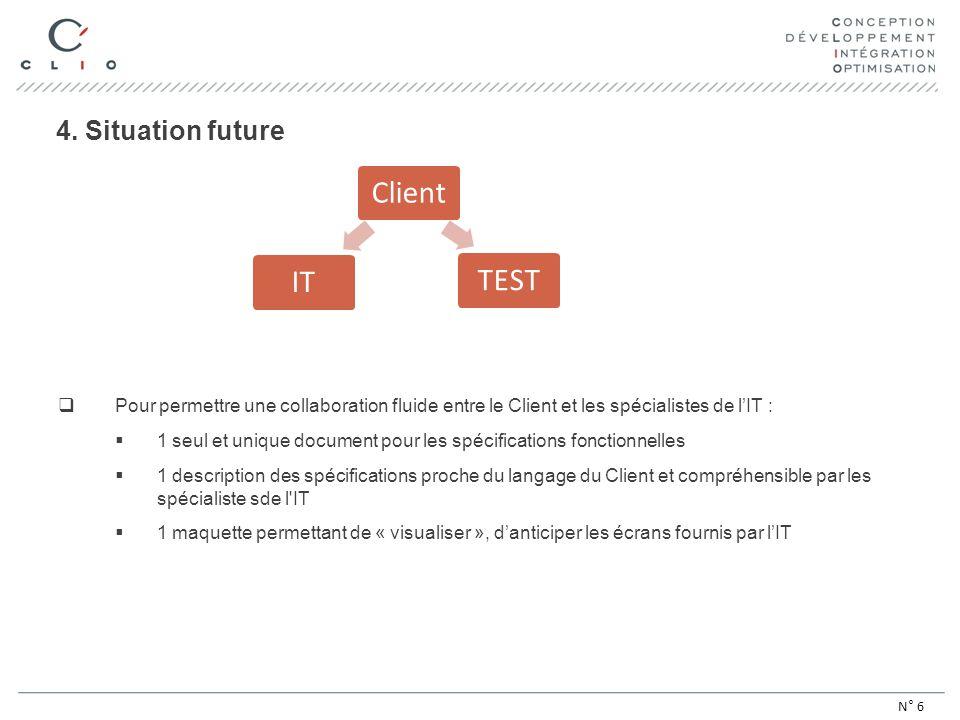 4. Situation future Pour permettre une collaboration fluide entre le Client et les spécialistes de lIT : 1 seul et unique document pour les spécificat