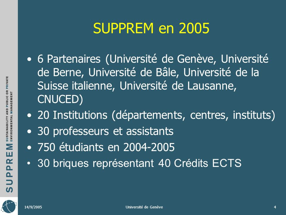 14/9/2005Université de Genève4 SUPPREM en 2005 6 Partenaires (Université de Genève, Université de Berne, Université de Bâle, Université de la Suisse italienne, Université de Lausanne, CNUCED) 20 Institutions (départements, centres, instituts) 30 professeurs et assistants 750 étudiants en 2004-2005 30 briques représentant 40 Crédits ECTS