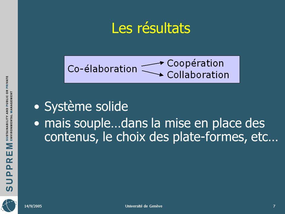 14/9/2005Université de Genève7 Les résultats Système solide mais souple…dans la mise en place des contenus, le choix des plate-formes, etc…