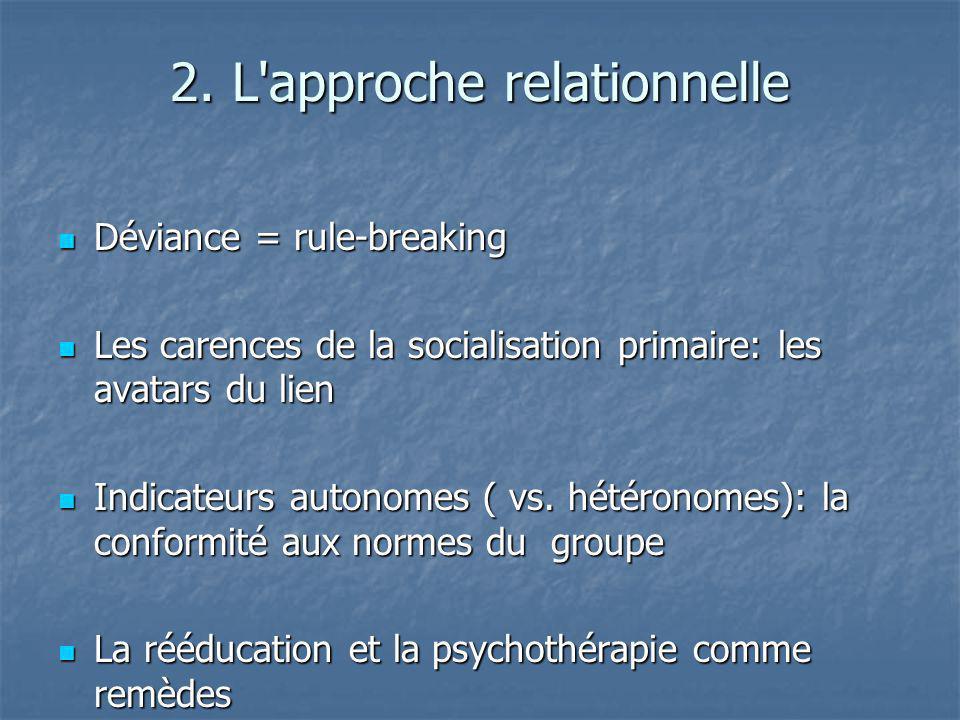 2. L'approche relationnelle Déviance = rule-breaking Déviance = rule-breaking Les carences de la socialisation primaire: les avatars du lien Les caren