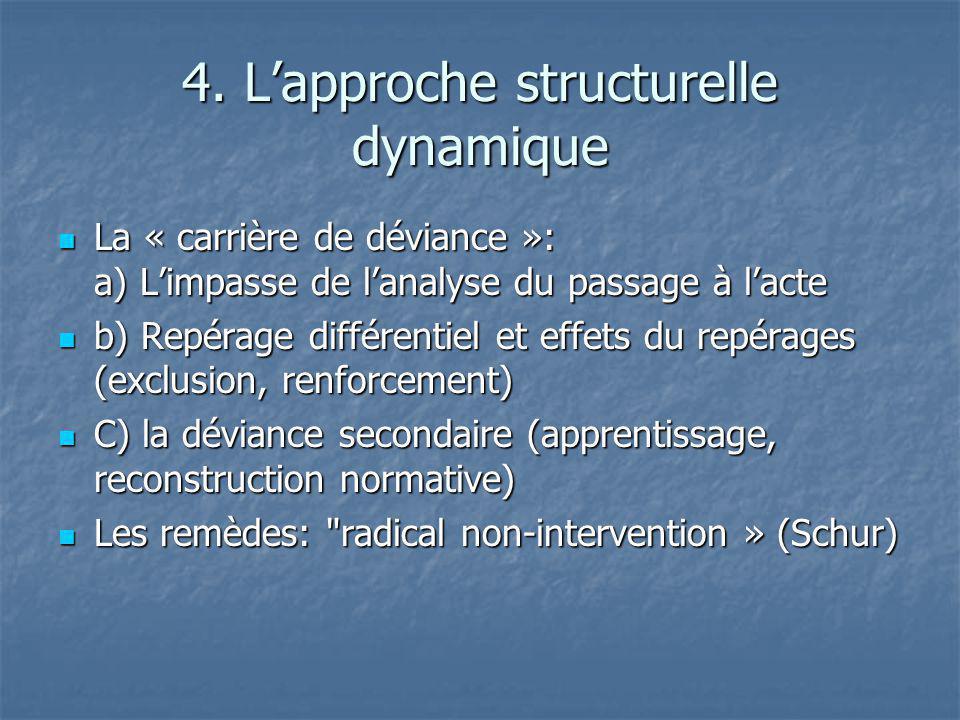 4. Lapproche structurelle dynamique La « carrière de déviance »: a) Limpasse de lanalyse du passage à lacte La « carrière de déviance »: a) Limpasse d
