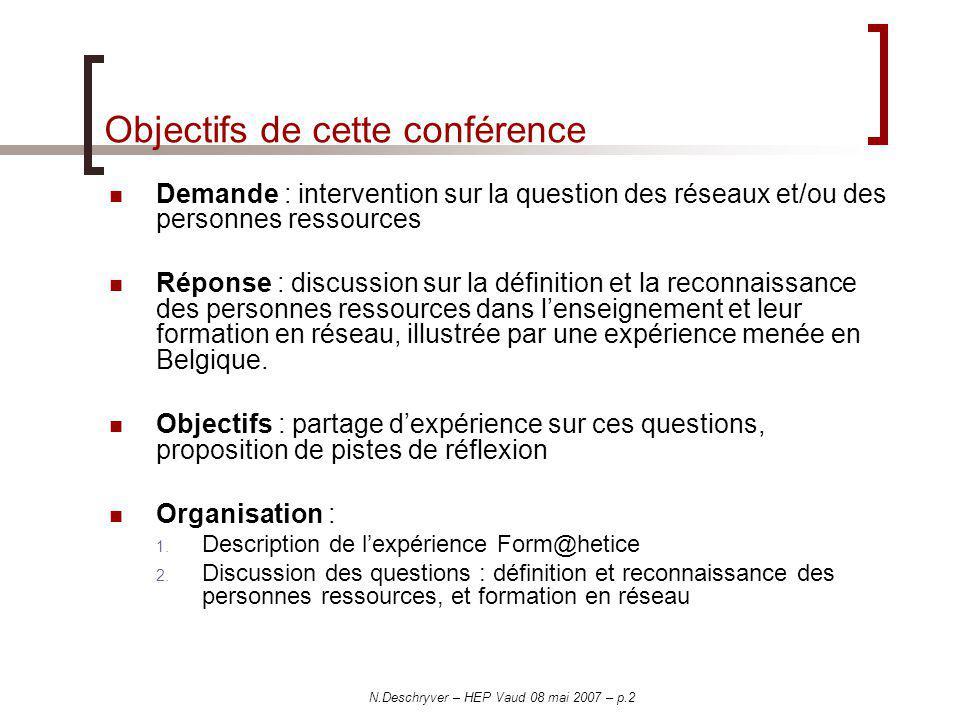 N.Deschryver – HEP Vaud 08 mai 2007 – p.2 Objectifs de cette conférence Demande : intervention sur la question des réseaux et/ou des personnes ressour