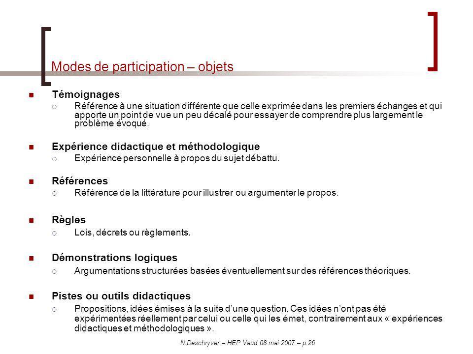N.Deschryver – HEP Vaud 08 mai 2007 – p.26 Modes de participation – objets Témoignages Référence à une situation différente que celle exprimée dans le