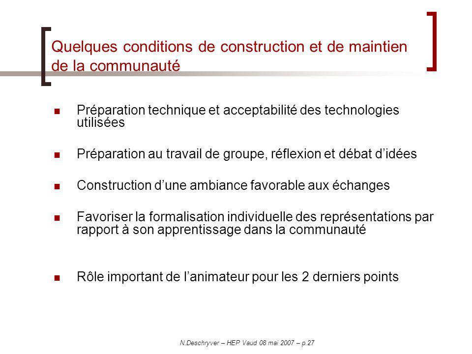 N.Deschryver – HEP Vaud 08 mai 2007 – p.27 Quelques conditions de construction et de maintien de la communauté Préparation technique et acceptabilité