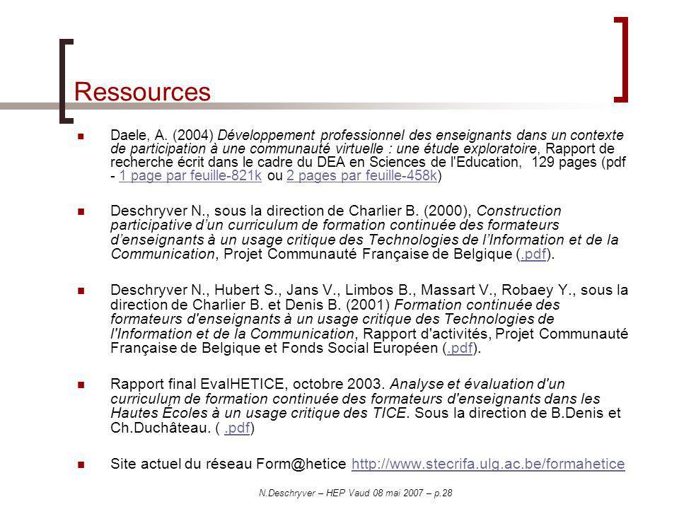 N.Deschryver – HEP Vaud 08 mai 2007 – p.28 Ressources Daele, A. (2004) Développement professionnel des enseignants dans un contexte de participation à