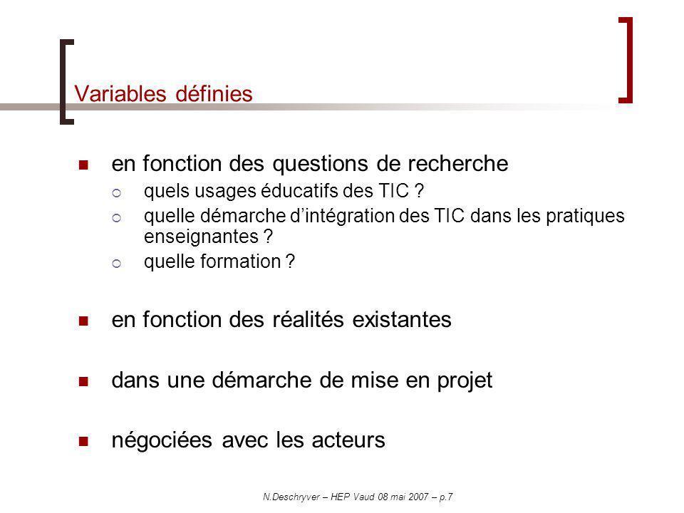 N.Deschryver – HEP Vaud 08 mai 2007 – p.7 Variables définies en fonction des questions de recherche quels usages éducatifs des TIC ? quelle démarche d