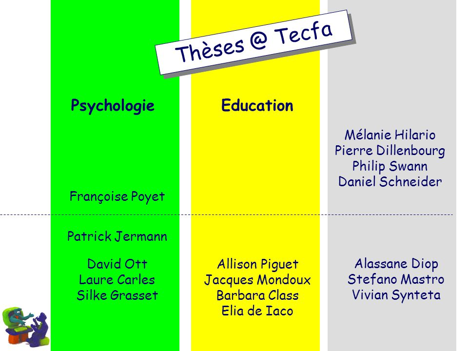 Psychologie Thèses @ Tecfa Education Mélanie Hilario Pierre Dillenbourg Philip Swann Daniel Schneider Françoise Poyet Patrick Jermann David Ott Laure