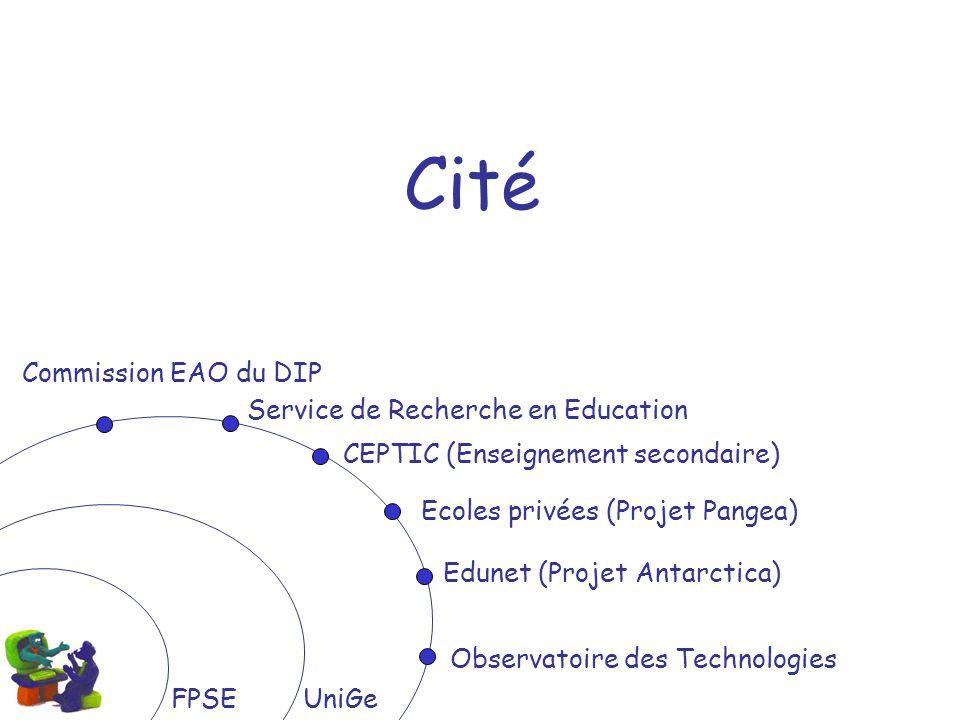 FPSEUniGe Cité Commission EAO du DIP Observatoire des Technologies Service de Recherche en Education CEPTIC (Enseignement secondaire) Ecoles privées (