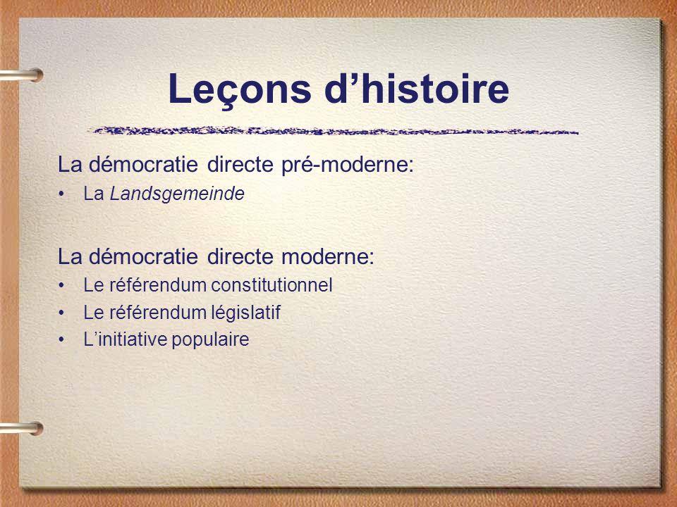 La démocratie directe pré-moderne: La Landsgemeinde La démocratie directe moderne: Le référendum constitutionnel Le référendum législatif Linitiative populaire