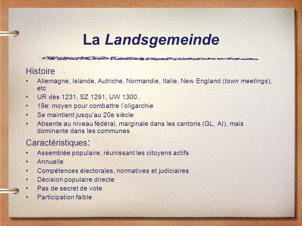 La Landsgemeinde Histoire Allemagne, Islande, Autriche, Normandie, Italie, New England (town meetings), etc UR dès 1231, SZ 1291, UW 1300..