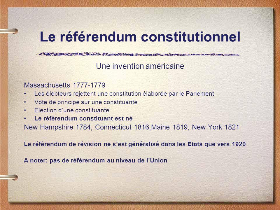 Le référendum constitutionnel Une invention américaine Massachusetts 1777-1779 Les électeurs rejettent une constitution élaborée par le Parlement Vote de principe sur une constituante Election dune constituante Le référendum constituant est né New Hampshire 1784, Connecticut 1816,Maine 1819, New York 1821 Le référendum de révision ne sest généralisé dans les Etats que vers 1920 A noter: pas de référendum au niveau de lUnion