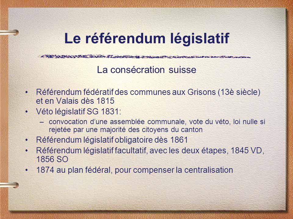 Le référendum législatif La consécration suisse Référendum fédératif des communes aux Grisons (13è siècle) et en Valais dès 1815 Véto législatif SG 1831: –convocation dune assemblée communale, vote du véto, loi nulle si rejetée par une majorité des citoyens du canton Référendum législatif obligatoire dès 1861 Référendum législatif facultatif, avec les deux étapes, 1845 VD, 1856 SO 1874 au plan fédéral, pour compenser la centralisation