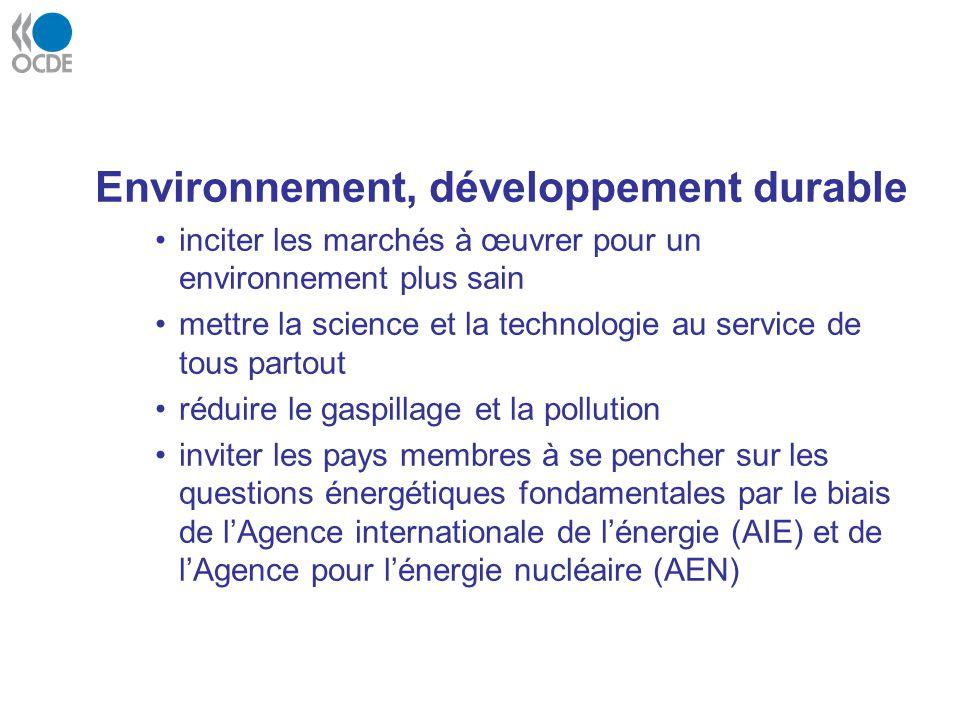 Environnement, développement durable inciter les marchés à œuvrer pour un environnement plus sain mettre la science et la technologie au service de to