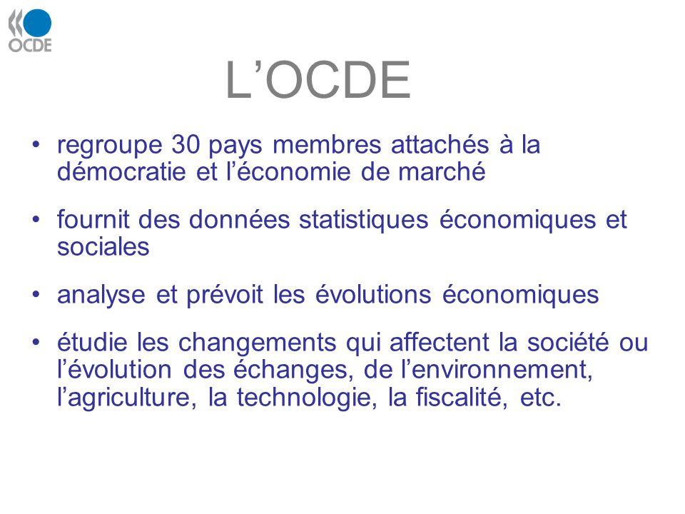 LOCDE regroupe 30 pays membres attachés à la démocratie et léconomie de marché fournit des données statistiques économiques et sociales analyse et pré