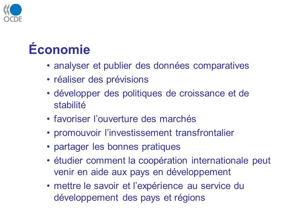 Économie analyser et publier des données comparatives réaliser des prévisions développer des politiques de croissance et de stabilité favoriser louver