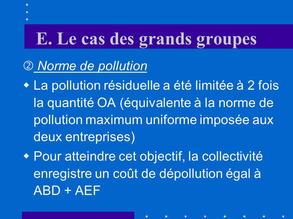 E.Le cas des grands groupes Norme de pollution Q Pollution NN Entr.