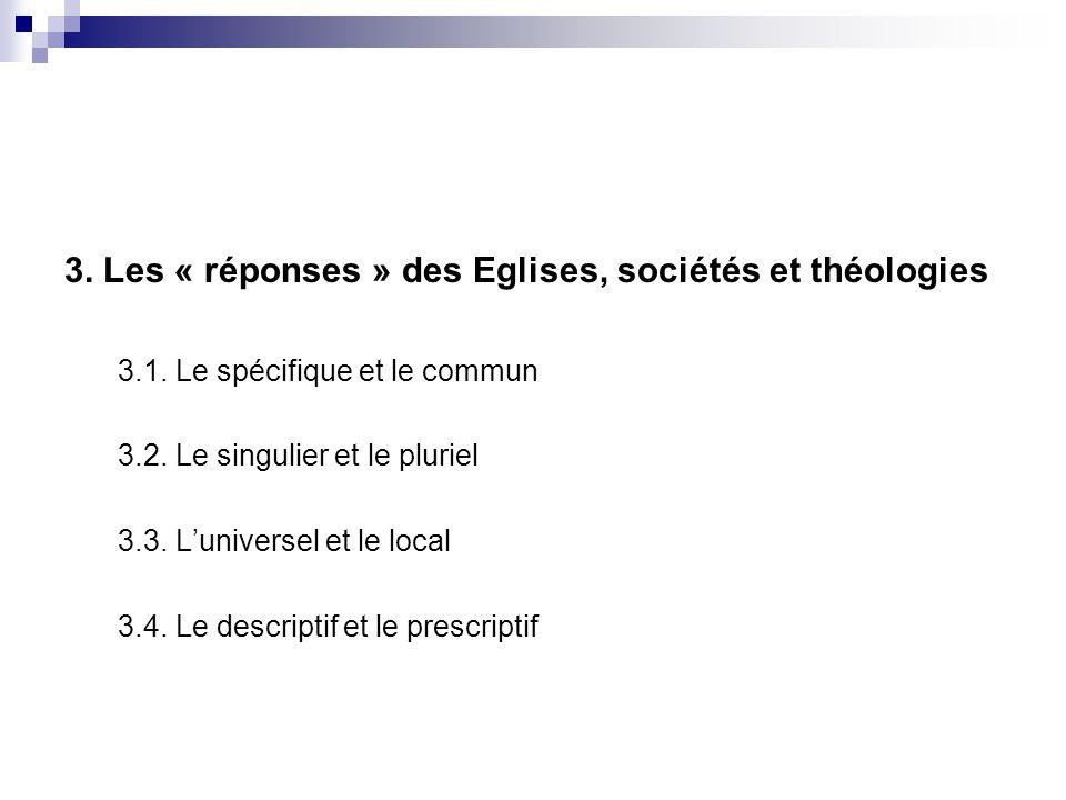3. Les « réponses » des Eglises, sociétés et théologies 3.1. Le spécifique et le commun 3.2. Le singulier et le pluriel 3.3. Luniversel et le local 3.