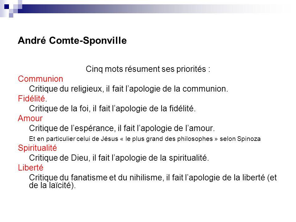 André Comte-Sponville Cinq mots résument ses priorités : Communion Critique du religieux, il fait lapologie de la communion. Fidélité. Critique de la