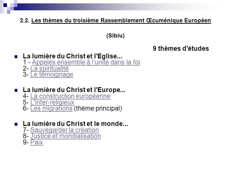 2.2. Les thèmes du troisième Rassemblement Œcuménique Européen (Sibiu) 9 thèmes d'études La lumière du Christ et l'Eglise... 1 - Appelés ensemble à lu