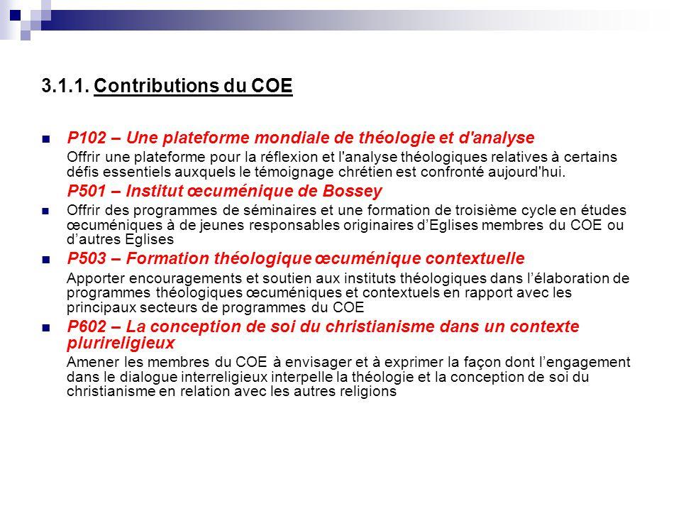 3.1.1. Contributions du COE P102 – Une plateforme mondiale de théologie et d'analyse Offrir une plateforme pour la réflexion et l'analyse théologiques