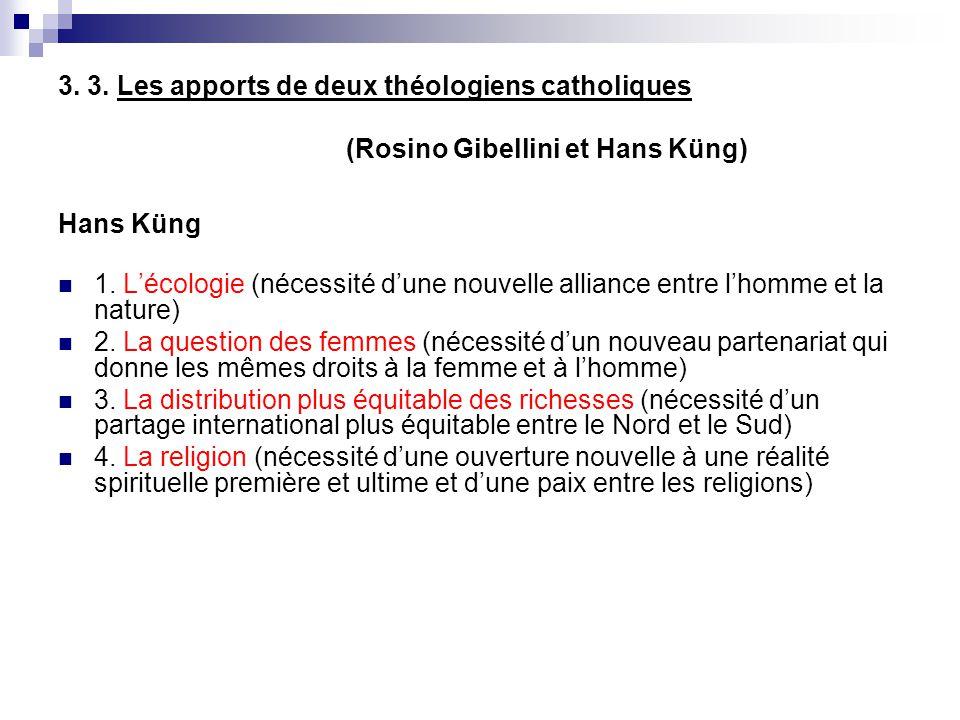 3. 3. Les apports de deux théologiens catholiques (Rosino Gibellini et Hans Küng) Hans Küng 1. Lécologie (nécessité dune nouvelle alliance entre lhomm